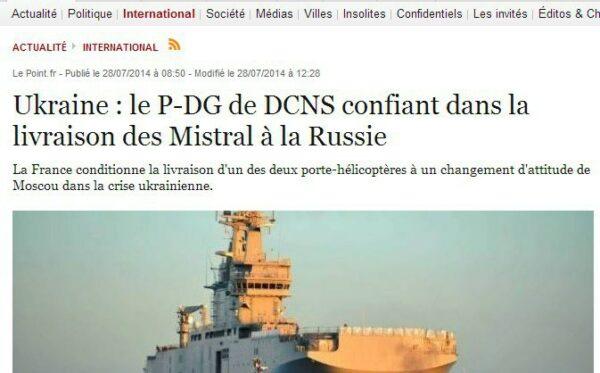 Media francuskie o okrętach wojskowych Mistral