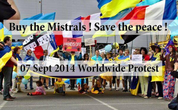Światowy protest przeciw sprzedaży okrętów Mistral do Rosji