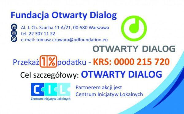 Złóż zeznanie podatkowe i przekaż swój 1% podatku Fundacji Otwarty Dialog