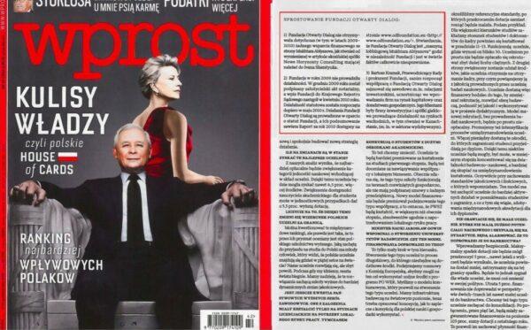 """""""Wprost"""" publikuje sprostowanie ws. naruszenia dóbr osobistych Fundacji Otwarty Dialog"""