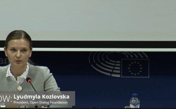Przemówienie Lyudmyly Kozlovskiej, Prezydenta Fundacji Otwarty Dialog, w Parlamencie Europejskim (pełny tekst przemówienia)