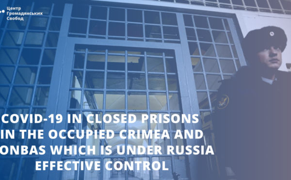 COVID-19 in closed prisons in the occupied Crimea and Donbas which is under Russia effective control